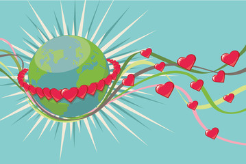 Planet Earth in ring of rad hearts.Vintage