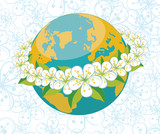 Planet earth with orbit of flovers.Spring background