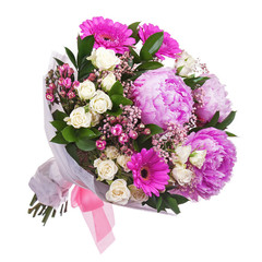 Bouquet from peon and gerbera flowers and roses isolated on whit