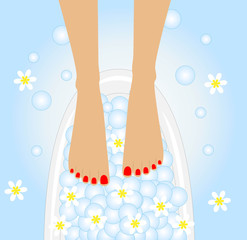 care of feet, birdbaths with the flowers of camomile