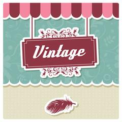 Vintage retro card design, invitation, birthday, menu, vector