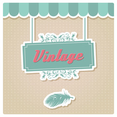 Vintage retro card design, invitation, birthday, menu, vector