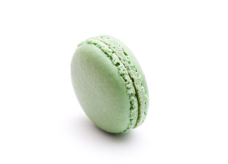 green macaroon on white