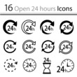 Set of open 24 hours Icons (vector)