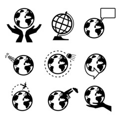 Set of icons with the globe (vector)