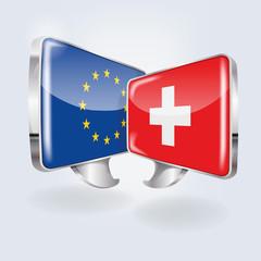Sprechblasen mit Europa und Schweiz