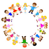 many children got up in a circle on a white background