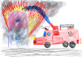 fire truck rescues house. child drawing
