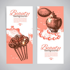 Set of beauty sketch banners. Vintage hand drawn vector