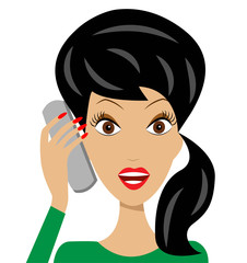 business  woman emotionally speak by phone