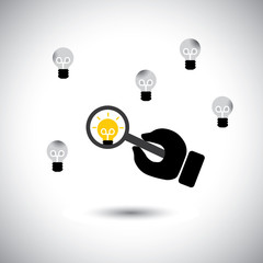 finding talented employees with best ideas - concept vector