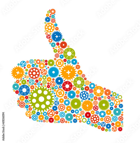 Thumbs Up Symbol, Which is Composed of Colour Gears. Vector illu