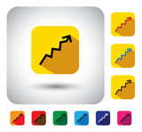graph or report sign on button - flat design vector icon