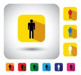 person or people sign on button - flat design vector icon