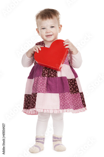 cute little girl with red heard on white