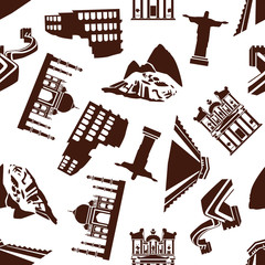 Seven Wonders of the World seamless pattern