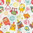 Owl seamless background with flower and fashionable things.