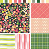Floral Seamless background. Check Strip Dot Seamless pattern.