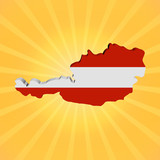Austria map flag on sunburst illustration