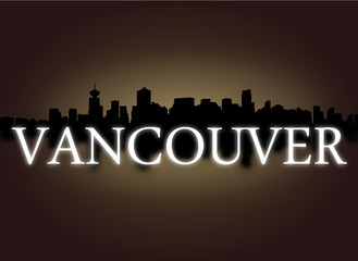 Vancouver skyline reflected sky and text illustration