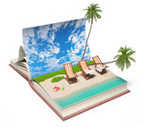 book with a tropical beach