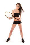 Sporty young woman full body portrait isolated against white bac
