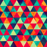colored triangle seamless pattern with blot effect