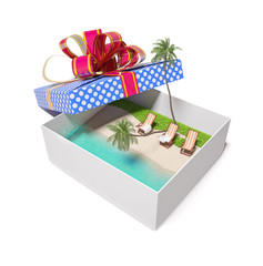 tropical beach in the gift box