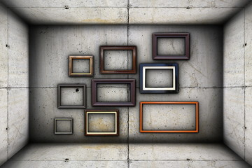 futuristic backdrop with frames on concrete