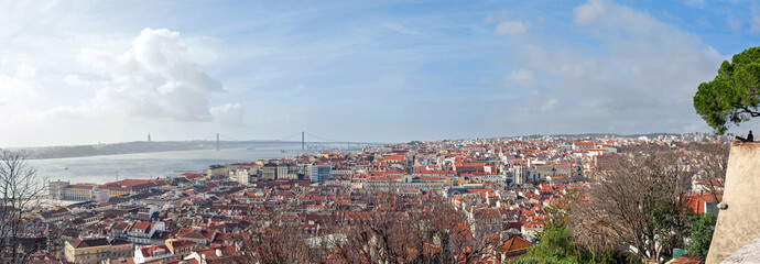 "Panoramic view of Lisbon city and Tagus river from the ""Castle S"
