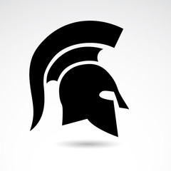 Spartan warrior, soldier helmet isolated on white background.