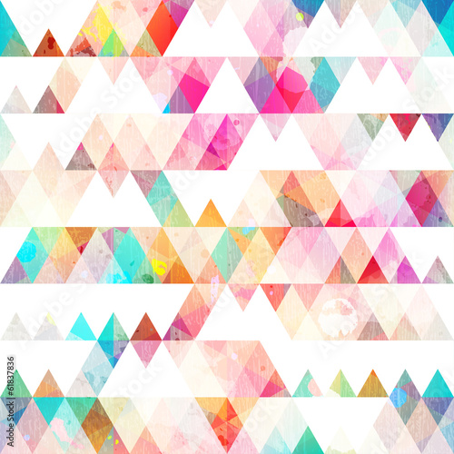 rainbow triangle seamless pattern with grunge effect - 61837836
