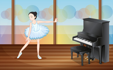 A ballet dancer near the piano