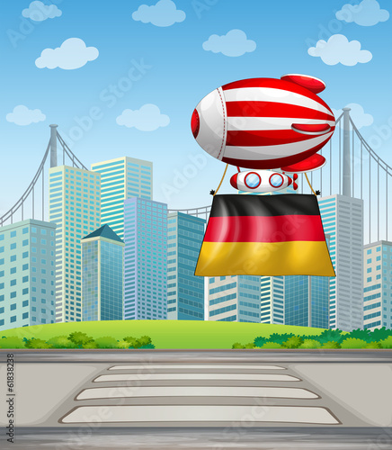 A floating balloon with the flag of Germany