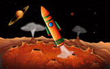 An orange rocket in the outerspace