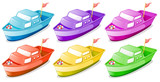 Six colorful boats