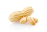 Peanuts on white background, clipping path