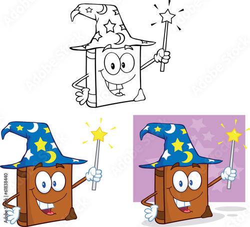 Happy Wizard Book Cartoon Character. Set Collection