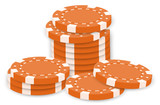Orange poker chips