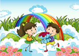 A couple dating near the rainbow