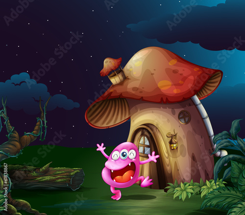 A pink monster near the mushroom house