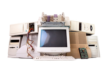 old computer and electronic parts isolated on white background