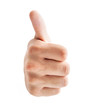 Human hand showing thumb up sign over white background