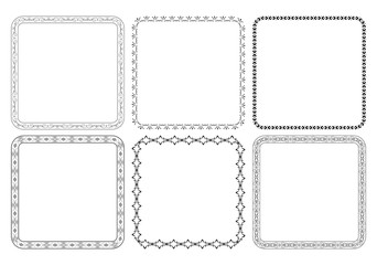 black decorative vector frames with ornaments