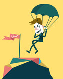 Businessman landing to the goal with parachute,