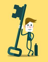 Businessman with a success key. Business Concept.