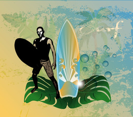 Surf background with surfboarder