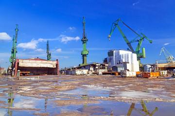 Cranes of shipyard in Gdansk, Poland