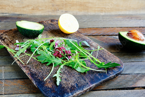 salad with avocado and arugula