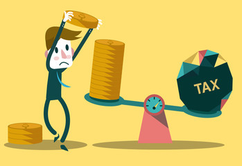 Businessman use coins balancing with TAX on scales.